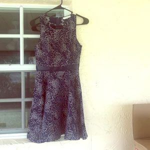 Sugarlips • Navy Blue Rose Embossed Dress